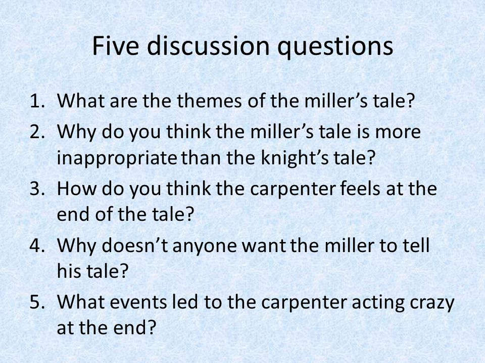 "an analysis of the main character in the millers tale Character analysis:  ""the millers tale"" follows the knights  but contradicting points about the characters deception to the main character of each story."