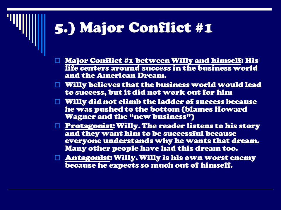 5.) Major Conflict #1 Major Conflict #1 between Willy and himself: His life centers around success in the business world and the American Dream.
