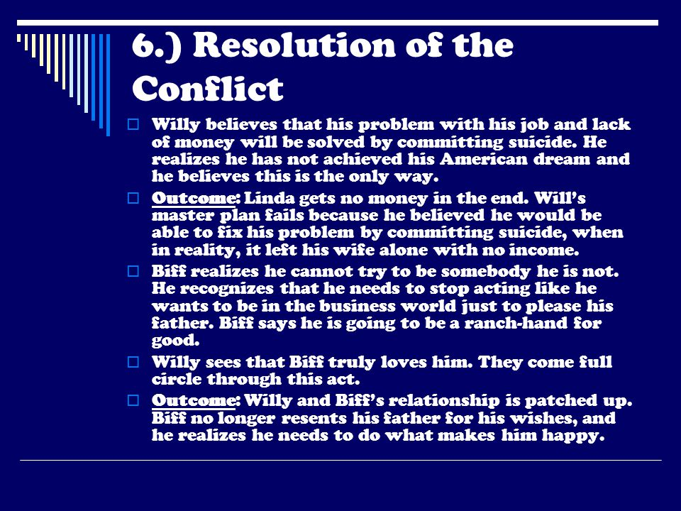 6.) Resolution of the Conflict