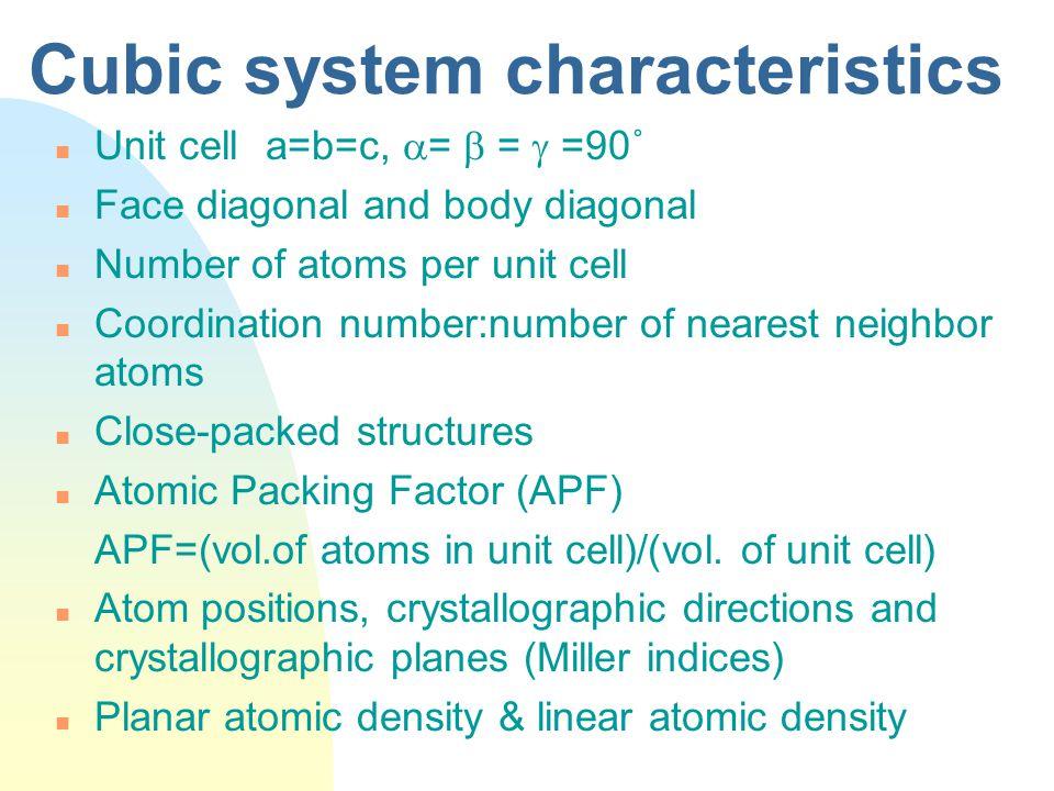 Cubic system characteristics