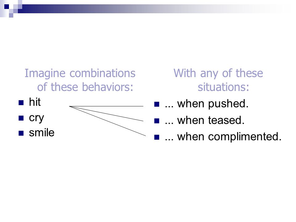 Imagine combinations of these behaviors: hit cry smile
