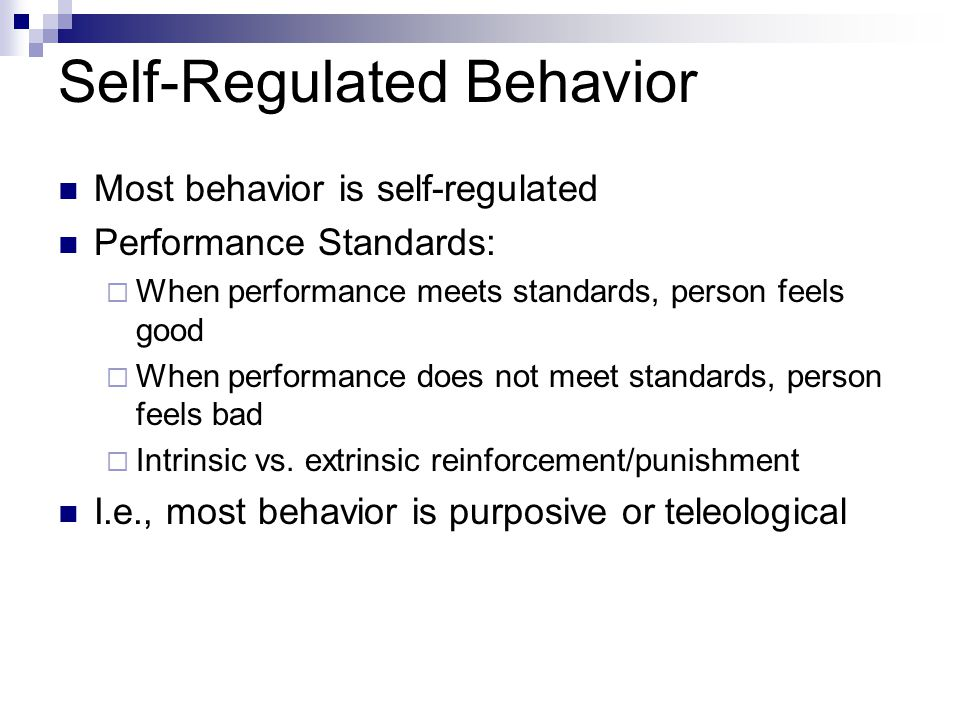 Self-Regulated Behavior