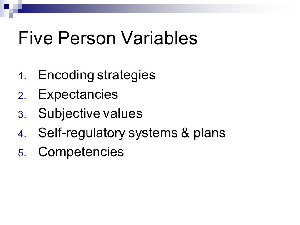 Five Person Variables Encoding strategies Expectancies