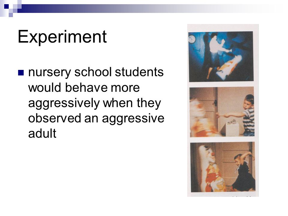 Experiment nursery school students would behave more aggressively when they observed an aggressive adult.