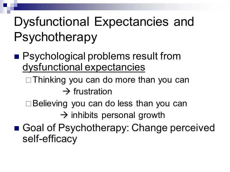 Dysfunctional Expectancies and Psychotherapy
