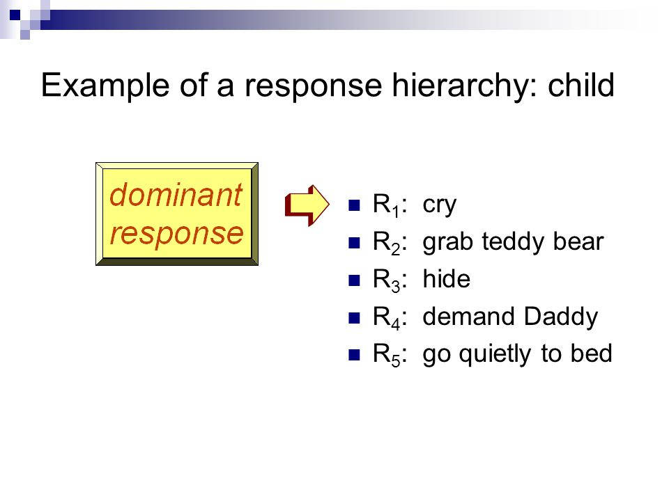 Example of a response hierarchy: child