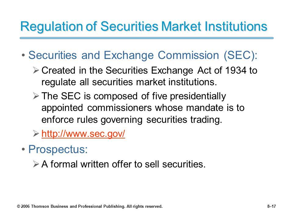 Regulation of Securities Market Institutions