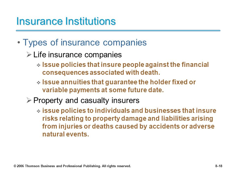 Insurance Institutions