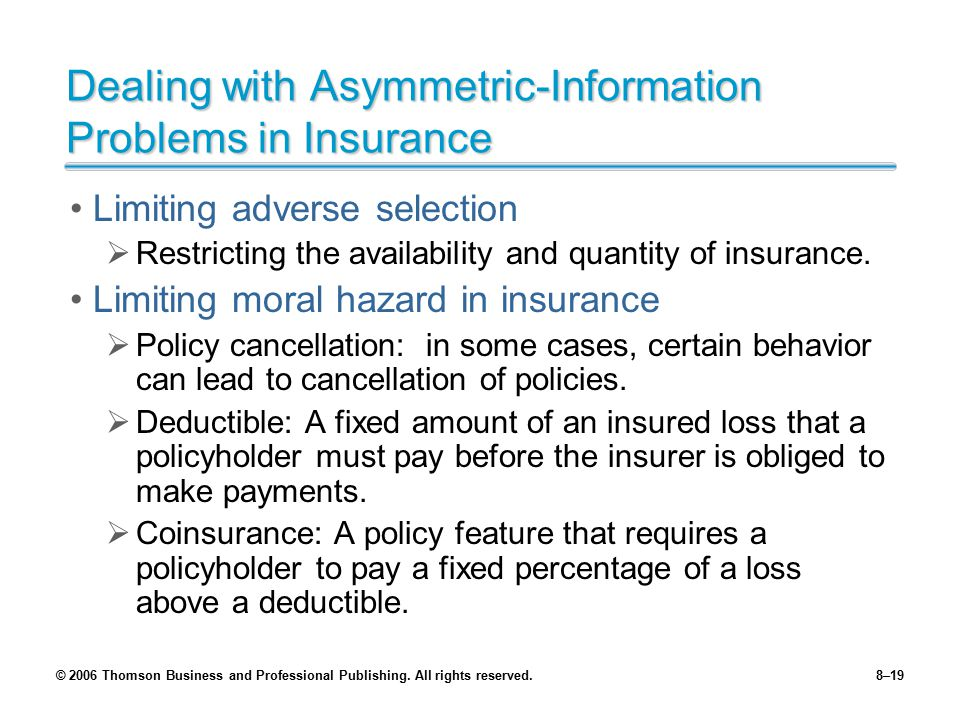 Dealing with Asymmetric-Information Problems in Insurance