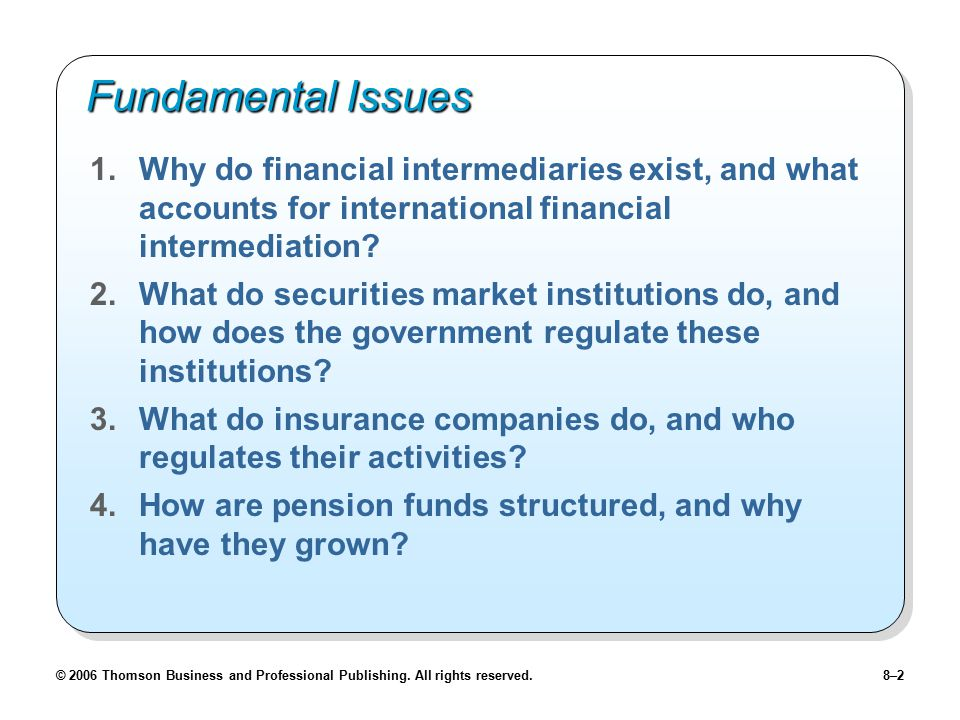 Fundamental Issues Why do financial intermediaries exist, and what accounts for international financial intermediation