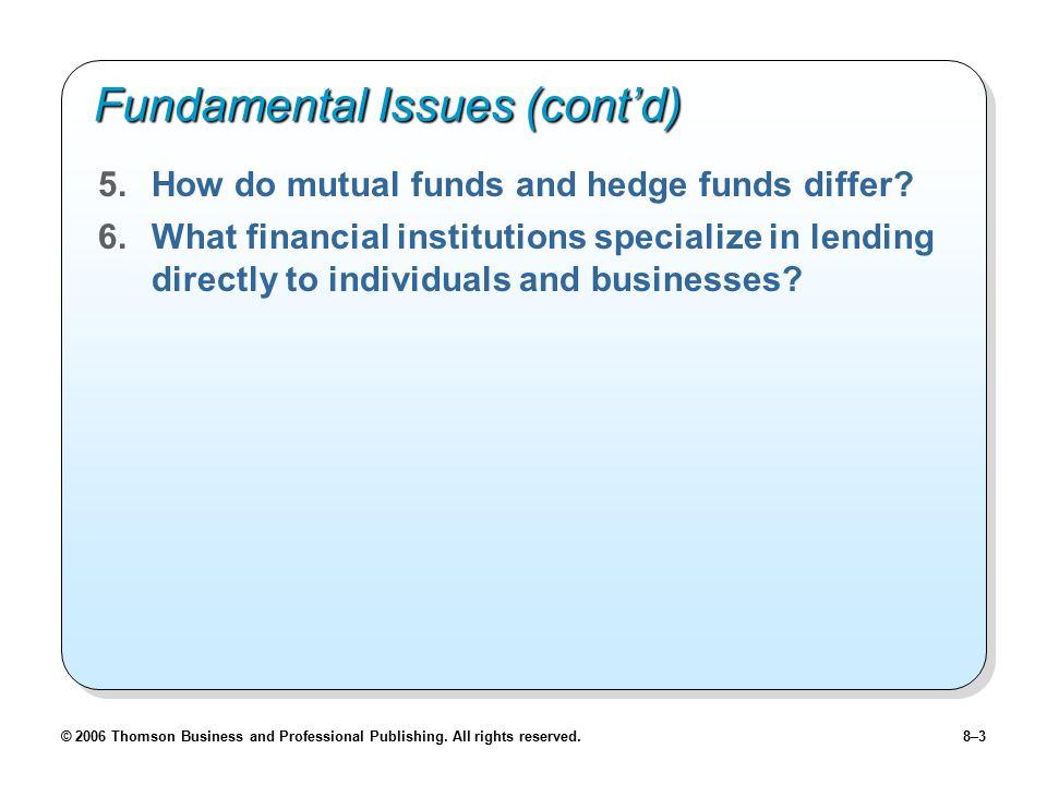 Fundamental Issues (cont'd)