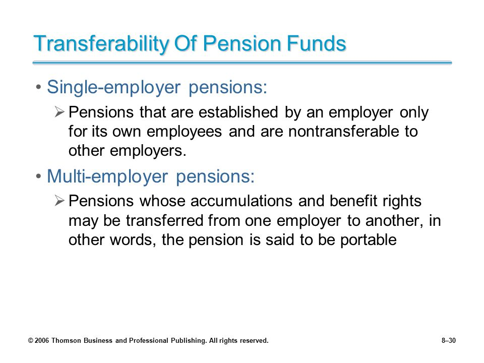Transferability Of Pension Funds
