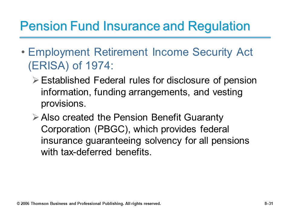 Pension Fund Insurance and Regulation