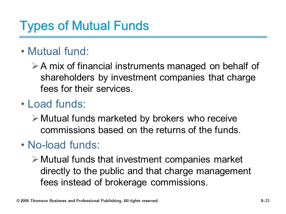 Types of Mutual Funds Mutual fund: Load funds: No-load funds: