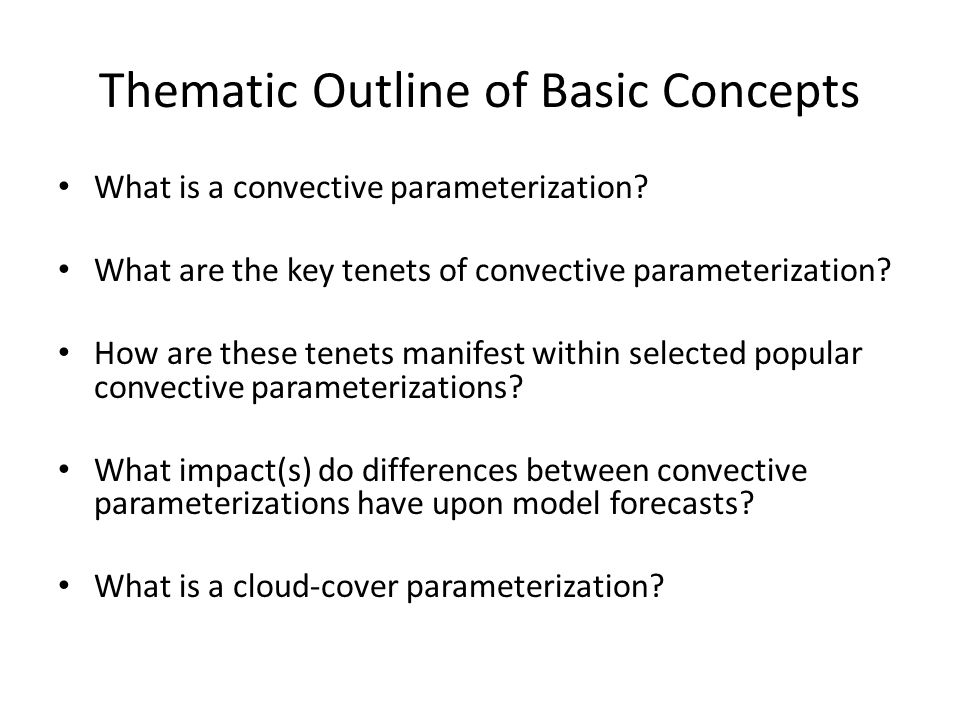 Thematic Outline of Basic Concepts