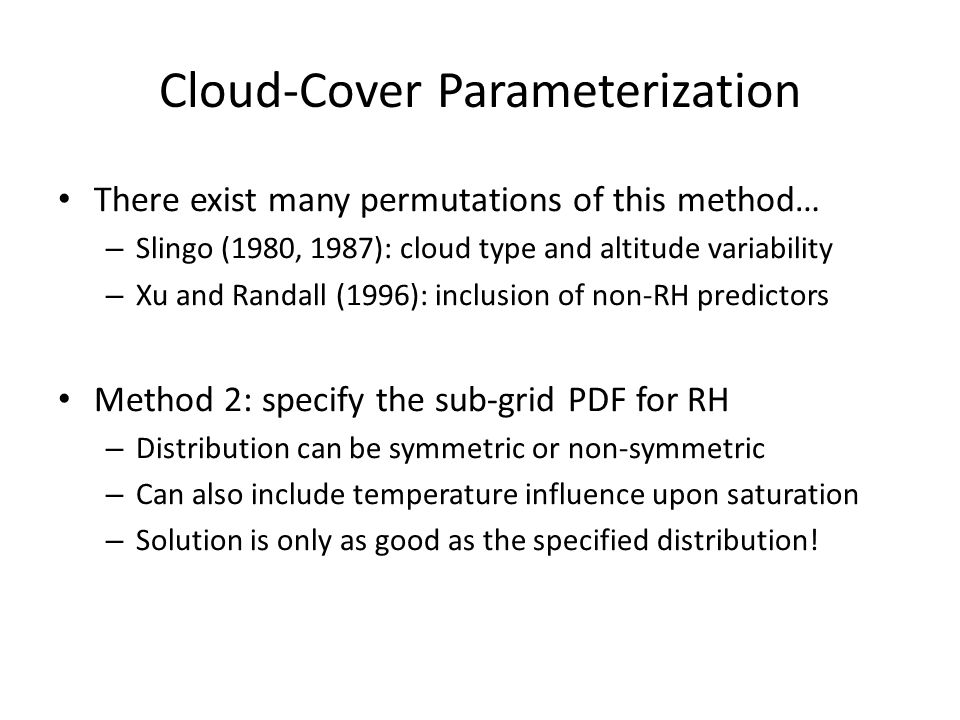 Cloud-Cover Parameterization