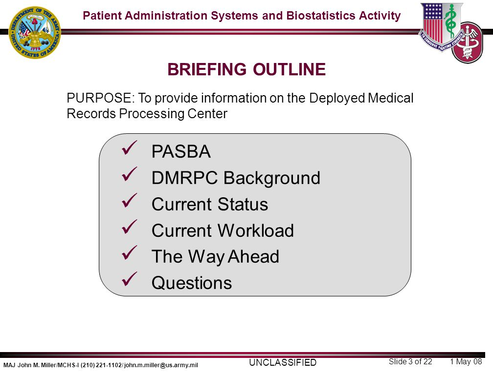 PASBA DMRPC Background Current Status Current Workload The Way Ahead