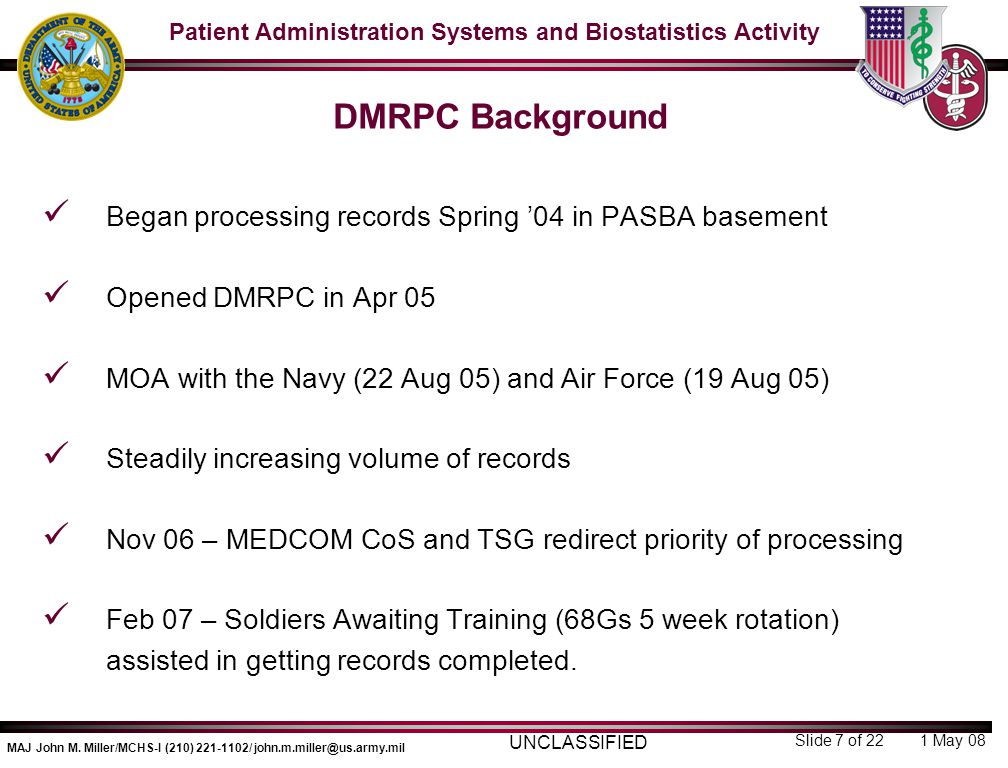 DMRPC Background Began processing records Spring '04 in PASBA basement