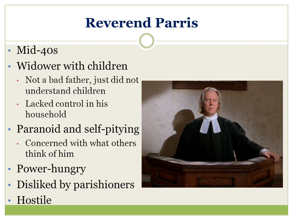 Reverend Parris Mid-40s Widower with children