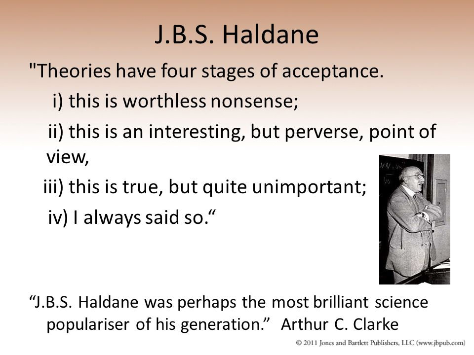 J.B.S. Haldane Theories have four stages of acceptance.