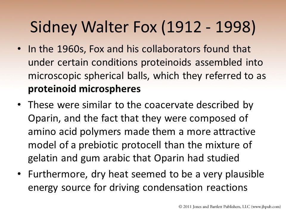 Sidney Walter Fox (1912 - 1998)