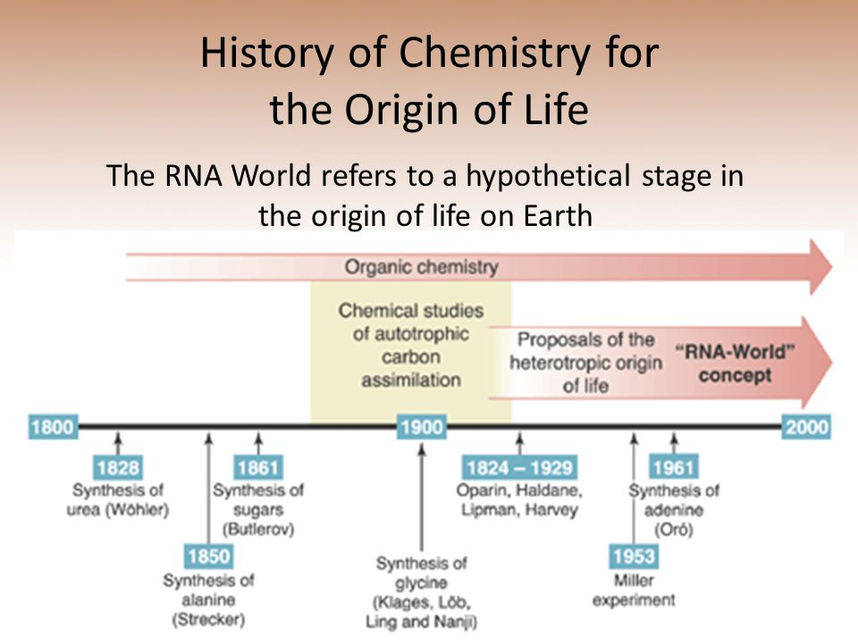 History of Chemistry for the Origin of Life