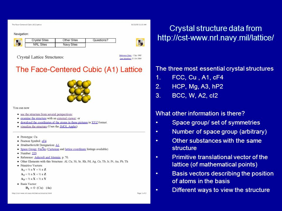 Crystal structure data from http://cst-www.nrl.navy.mil/lattice/