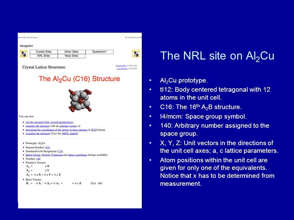 The NRL site on Al2Cu Al2Cu prototype.