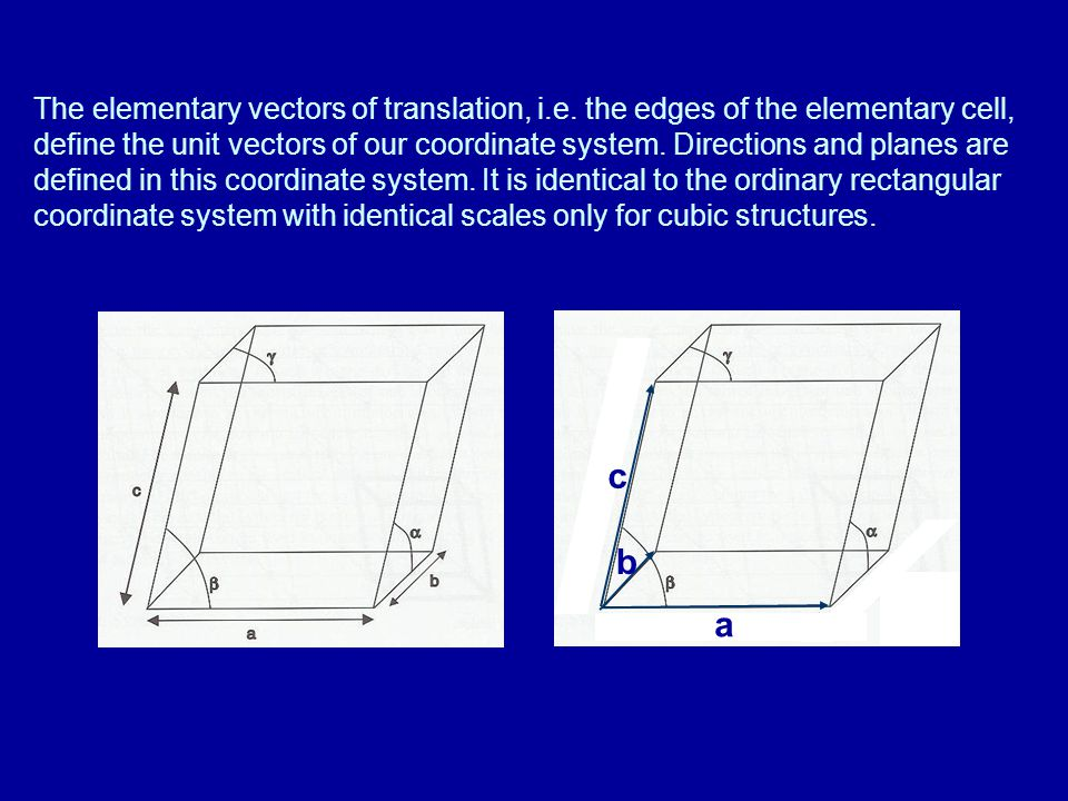 The elementary vectors of translation, i. e