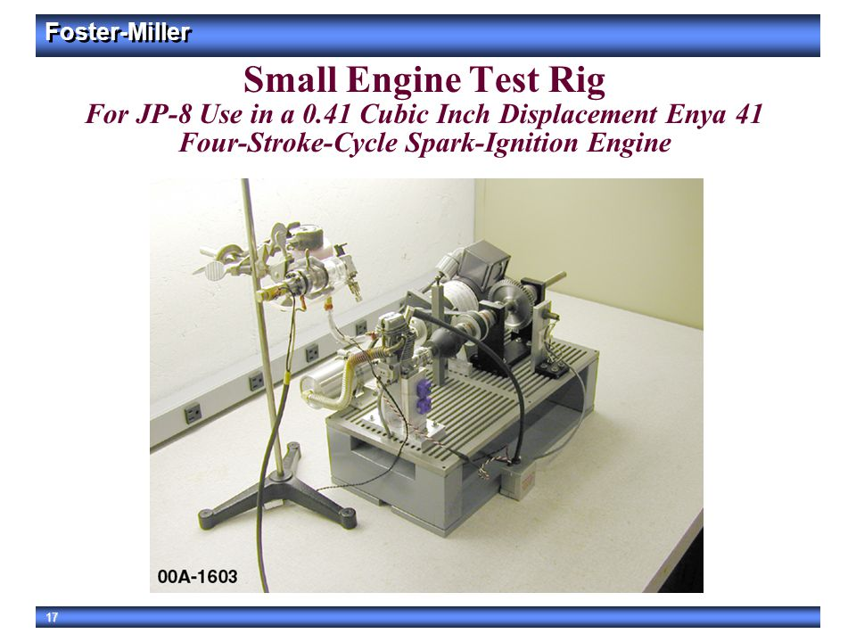 Small Engine Test Rig For JP-8 Use in a 0