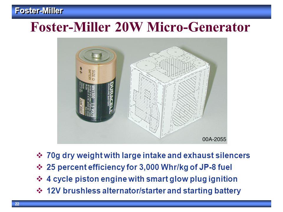 Foster-Miller 20W Micro-Generator