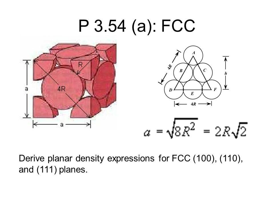 P 3.54 (a): FCC Derive planar density expressions for FCC (100), (110), and (111) planes.