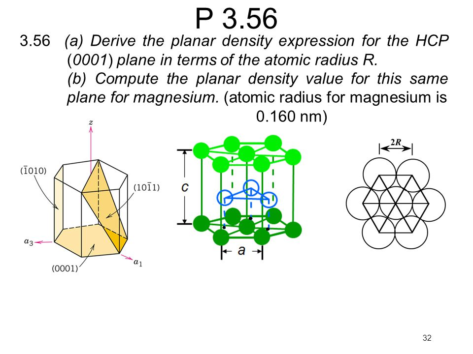 P (a) Derive the planar density expression for the HCP (0001) plane in terms of the atomic radius R.