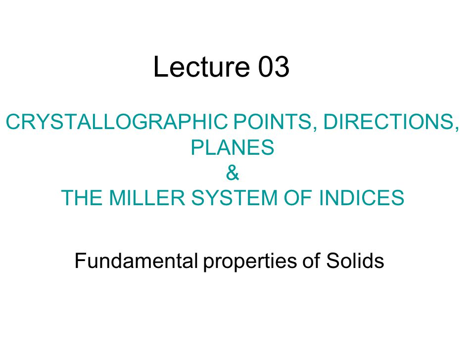 Fundamental properties of Solids