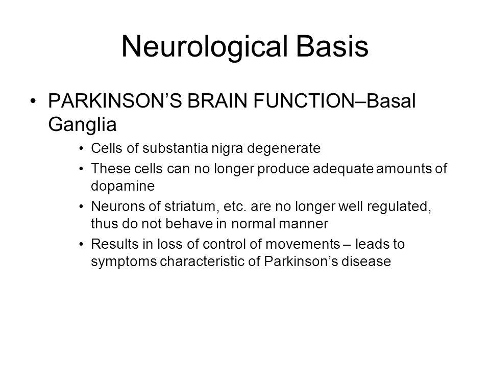 Neurological Basis PARKINSON'S BRAIN FUNCTION–Basal Ganglia