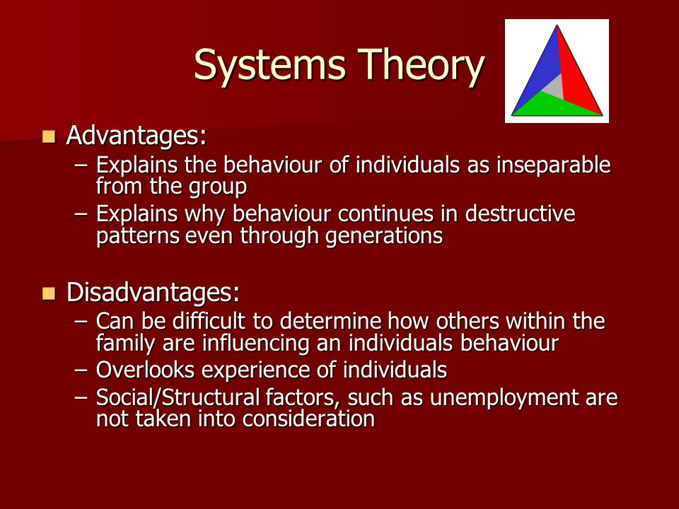 Systems Theory Advantages: Disadvantages: