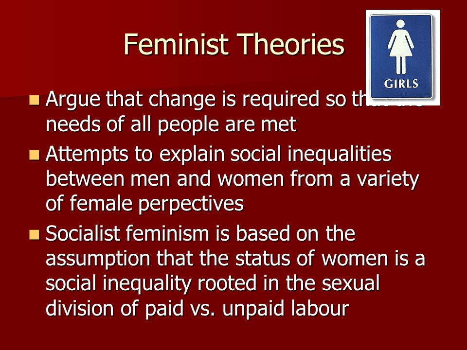 Feminist Theories Argue that change is required so that the needs of all people are met.
