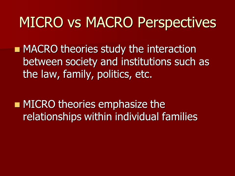 MICRO vs MACRO Perspectives