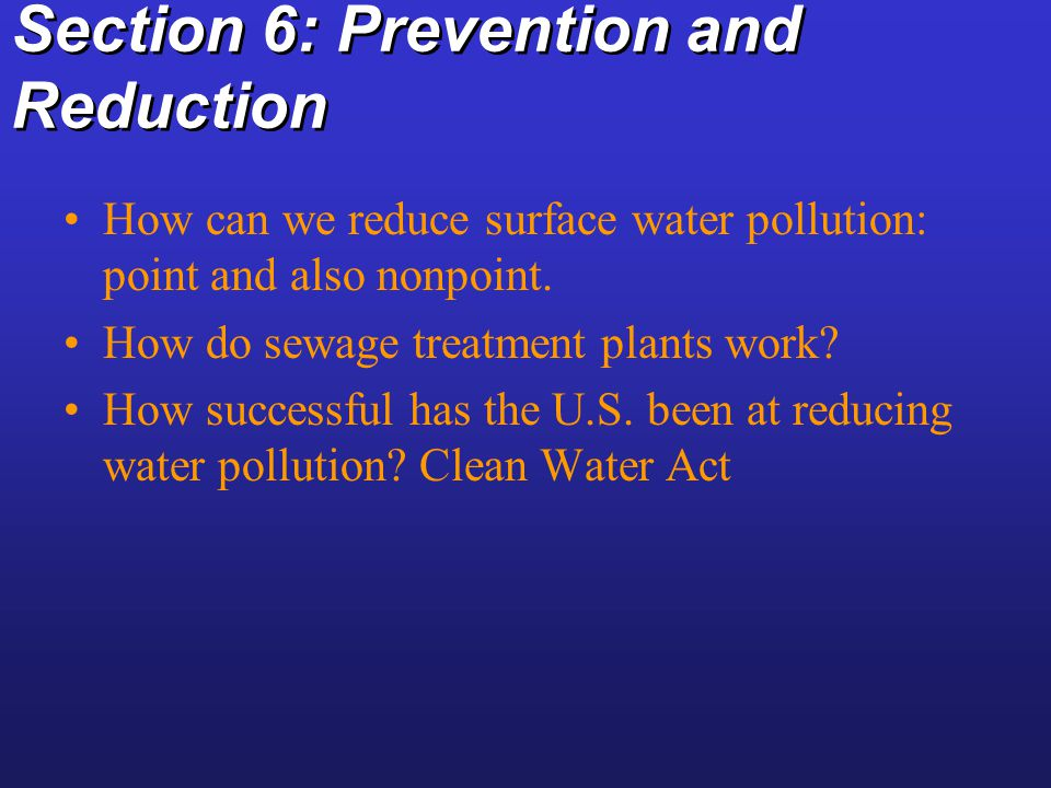 Section 6: Prevention and Reduction