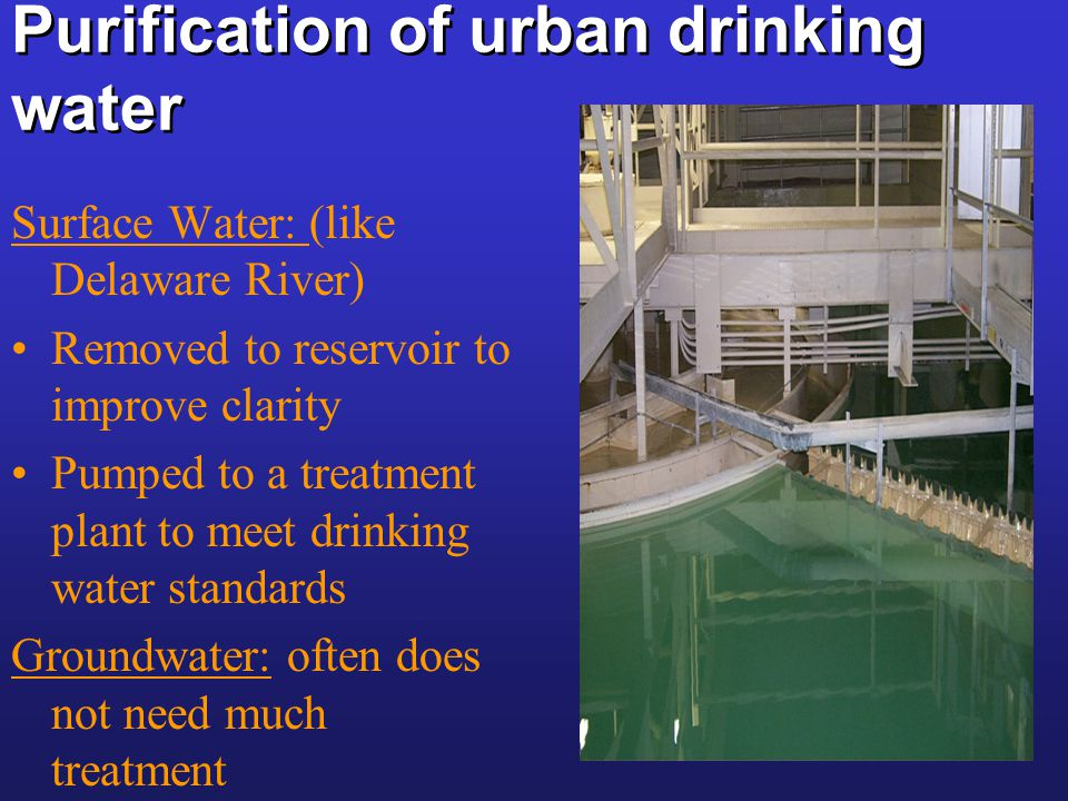 Purification of urban drinking water