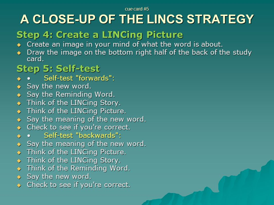 cue card #5 A CLOSE-UP OF THE LINCS STRATEGY