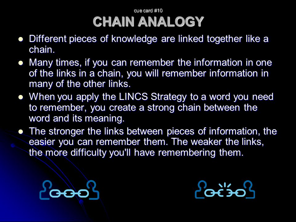 cue card #10 CHAIN ANALOGY