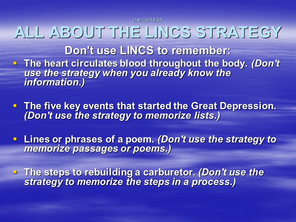 cue card #3d ALL ABOUT THE LINCS STRATEGY