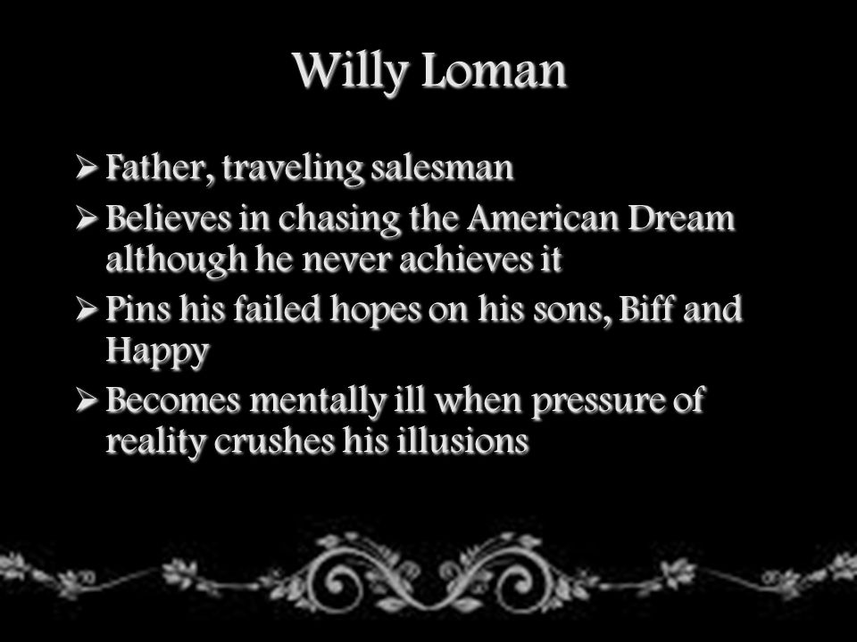 Willy Loman Father, traveling salesman