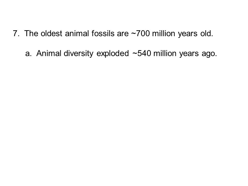 7. The oldest animal fossils are ~700 million years old.