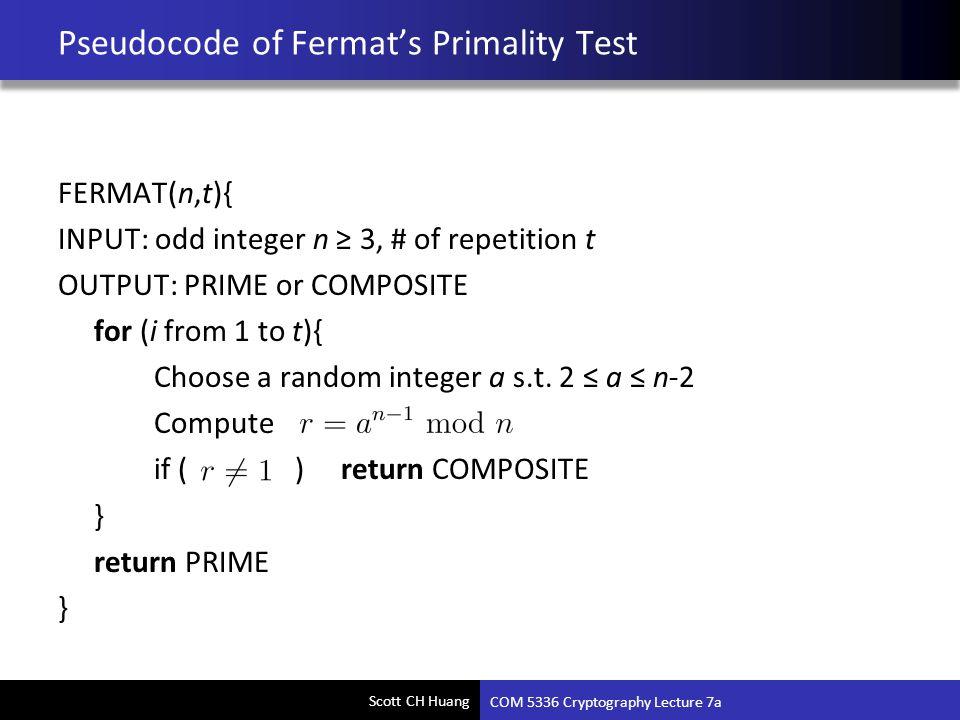 Pseudocode of Fermat's Primality Test