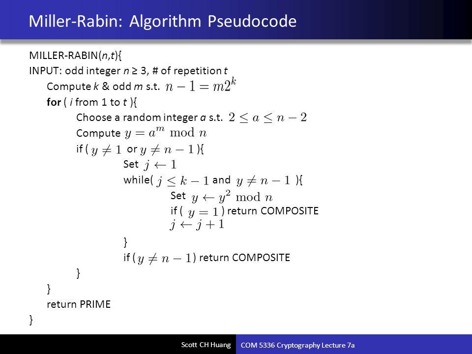 Miller-Rabin: Algorithm Pseudocode