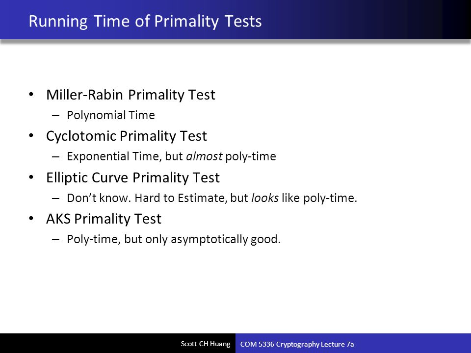 Running Time of Primality Tests