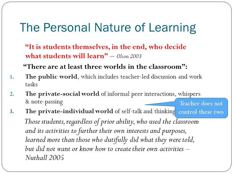 The Personal Nature of Learning