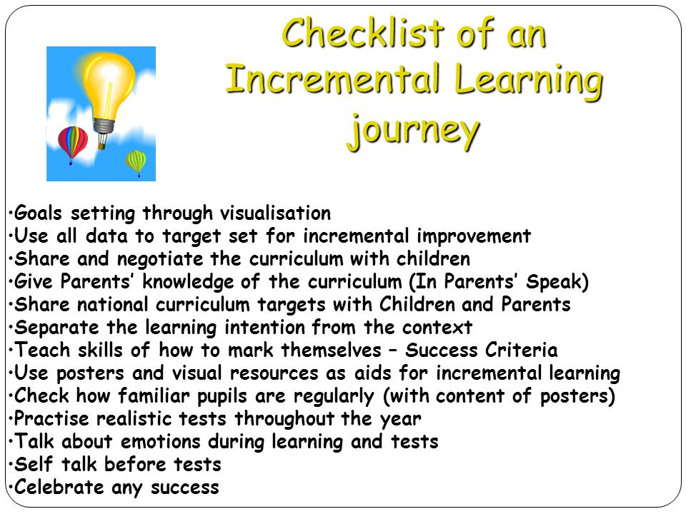 Checklist of an Incremental Learning journey